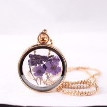 Dried Flower Clover Floating Locket Memory Living Pendant Necklace Gold Plated Jewelry Real Plant Flower 18in Chain Necklaces
