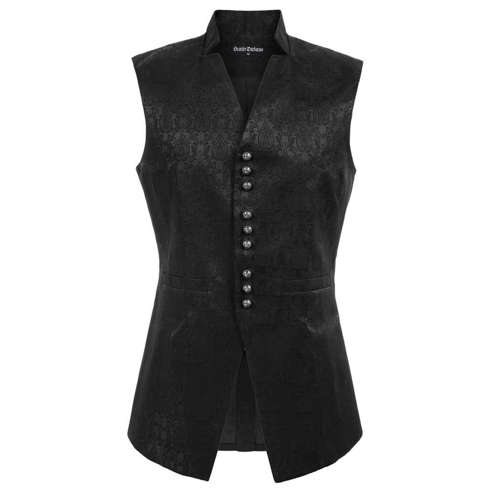 Men's Fashion V-Neck Back Split Jacquard Vest Gothic Sleeveless Stand Collar Coat
