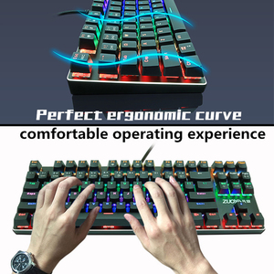 Image 4 - Gaming Mechanical keyboard usb wired Backlit Anti ghosting 87 key RGB Russian Blue Red Switch keyboard for computer gamer laptop