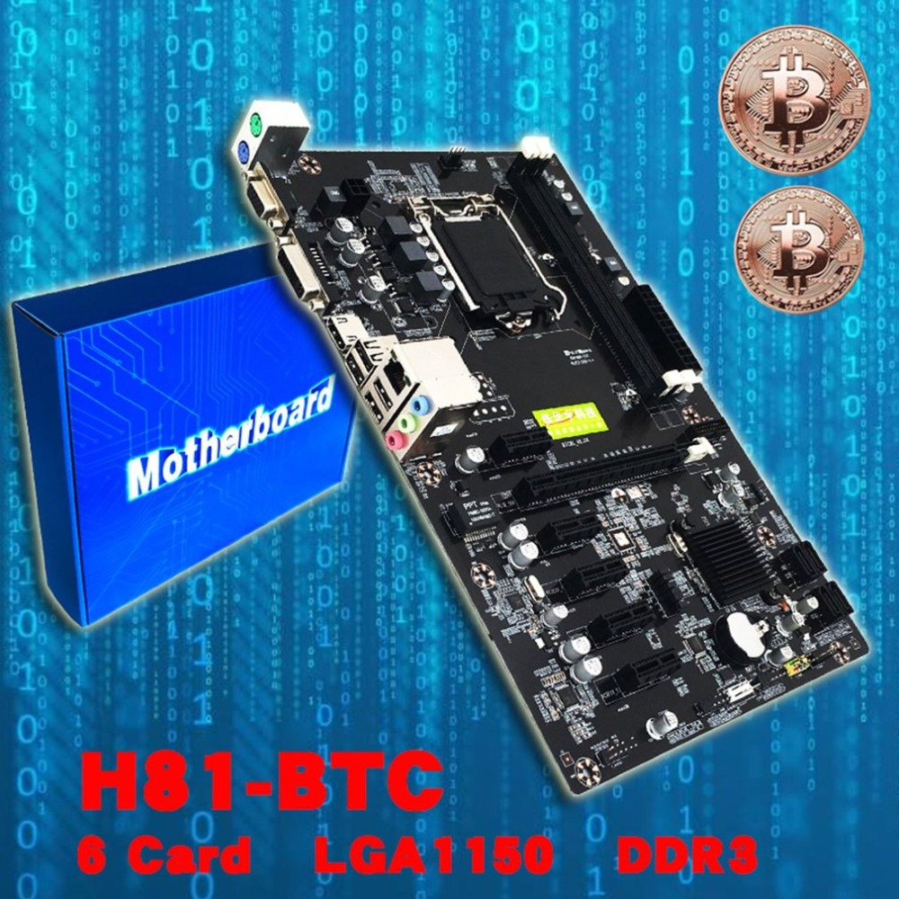 H81-BTC Mining Motherboard CPU LGA 1150 Integrated Chip Sound Card Network Card DDR3 PCI Express With Adapter Card image