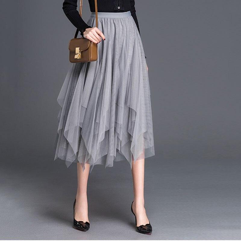 1 pièces élastique taille haute jupes femmes plage plissée jupes 2019 été maille épissage irrégulière jupe dames Skinny jupes