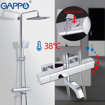 GAPPO prysznic termostatyczny System prysznic zestaw opady deszczu kran ciepłej i zimnej czarny prysznic kran wanna prysznic termostatyczny mikser tanie i dobre opinie CN (pochodzenie) SQUARE Chromowany Mosiądz G2407-40 G2407-50 G2491 G2490 GLD1192 brass