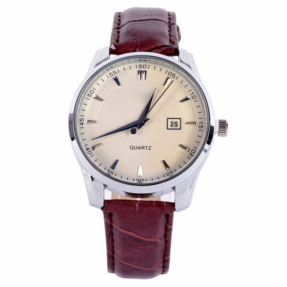 Men Calendar Watches Stainless Steel Leather Band Analog ...