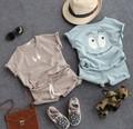2-8Y nuevos 2016 muchachos del verano de algodón cara de la sonrisa de manga corta camiseta a rayas + pantalones cortos haren ropa sets 2 unids kids summer traje