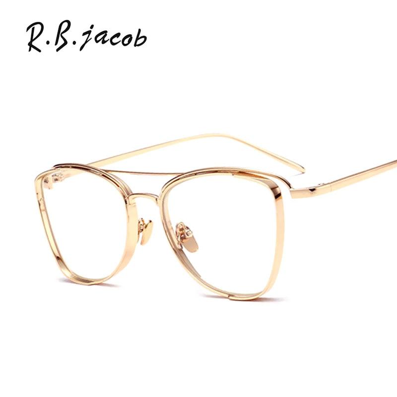 Cat Eye Brand Designer Sunglasses Women UV400 Lady Sun Glasses Frame Female Good Quality Mirror Points Eyeglasses Clear lens