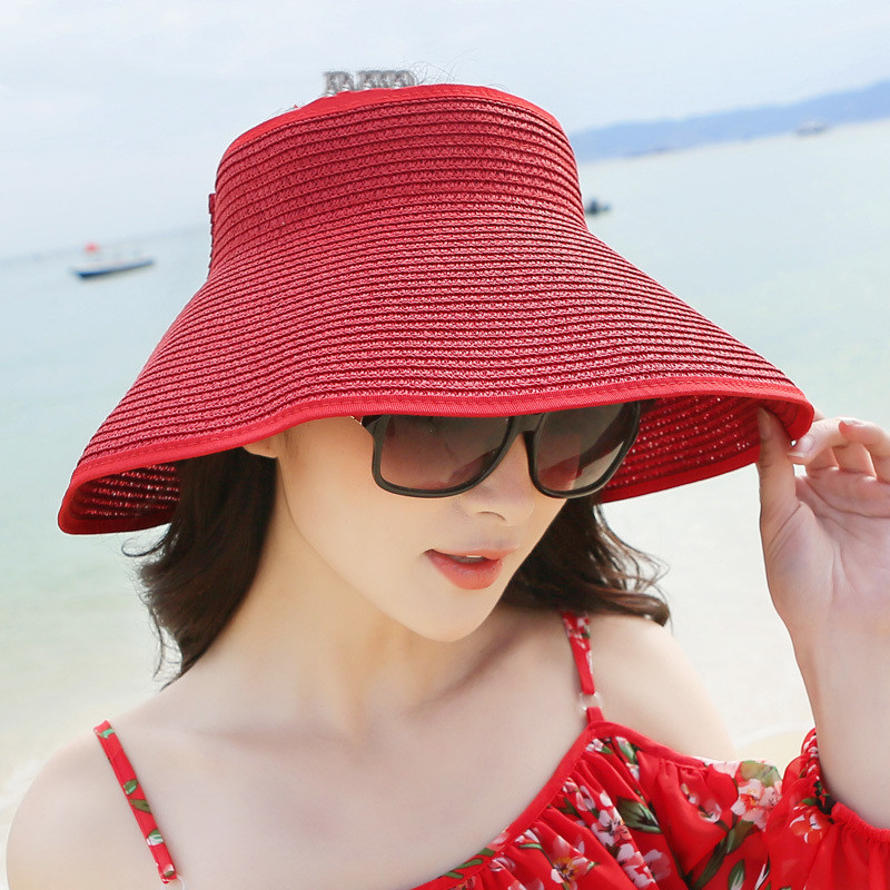 Sun Visor Beach Hats Women Visors Foldable Wide Brim Female Summer Sun Hat Women's Hats Summer Wide-brimmed Straw Hat