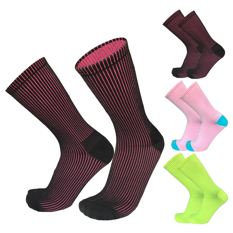 New Two in one Double Color  Sports Cycling Socks Men Women White Surface Pink Inside Running Road Bike socks