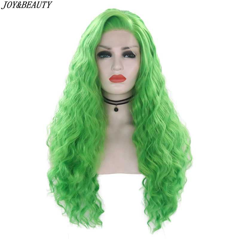 "JOY&BEAUTY Green Lace Front Wig 26"" Long Curly Wig  Heat Resistant Cosplay Synthetic Lace Front Wig For Women"