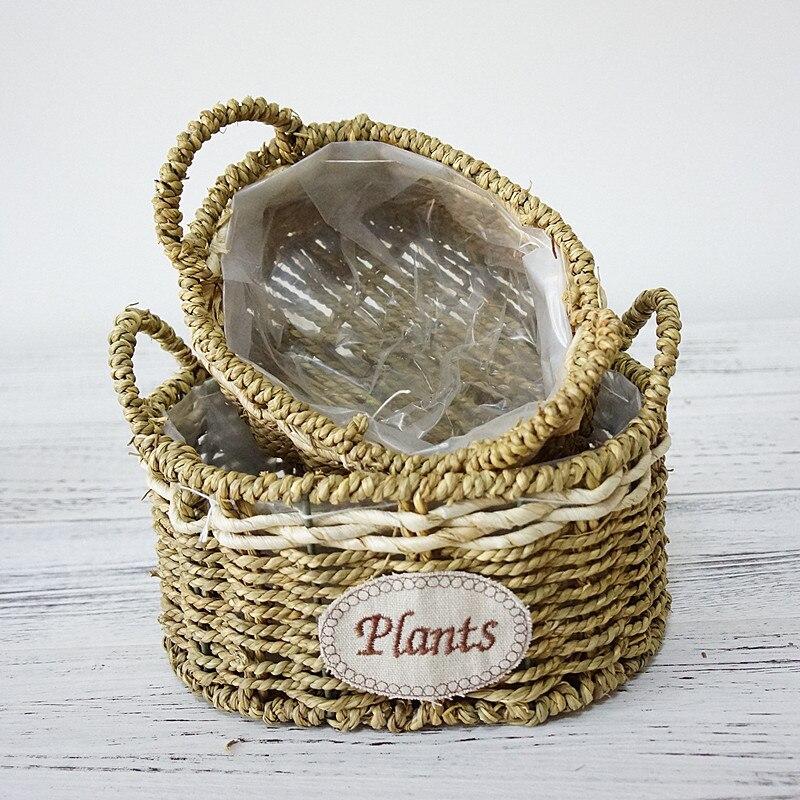 Пасторальный стиль соломы плетения корзин ваза для дома и сада небольшой горшок цветочный водонепроницаемый напольная ваза