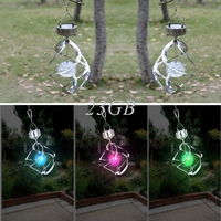 Decor Lamp Hanging LED Light Wind Spinner Garden Courtyard Solar Powered Outdoor MAY06_25