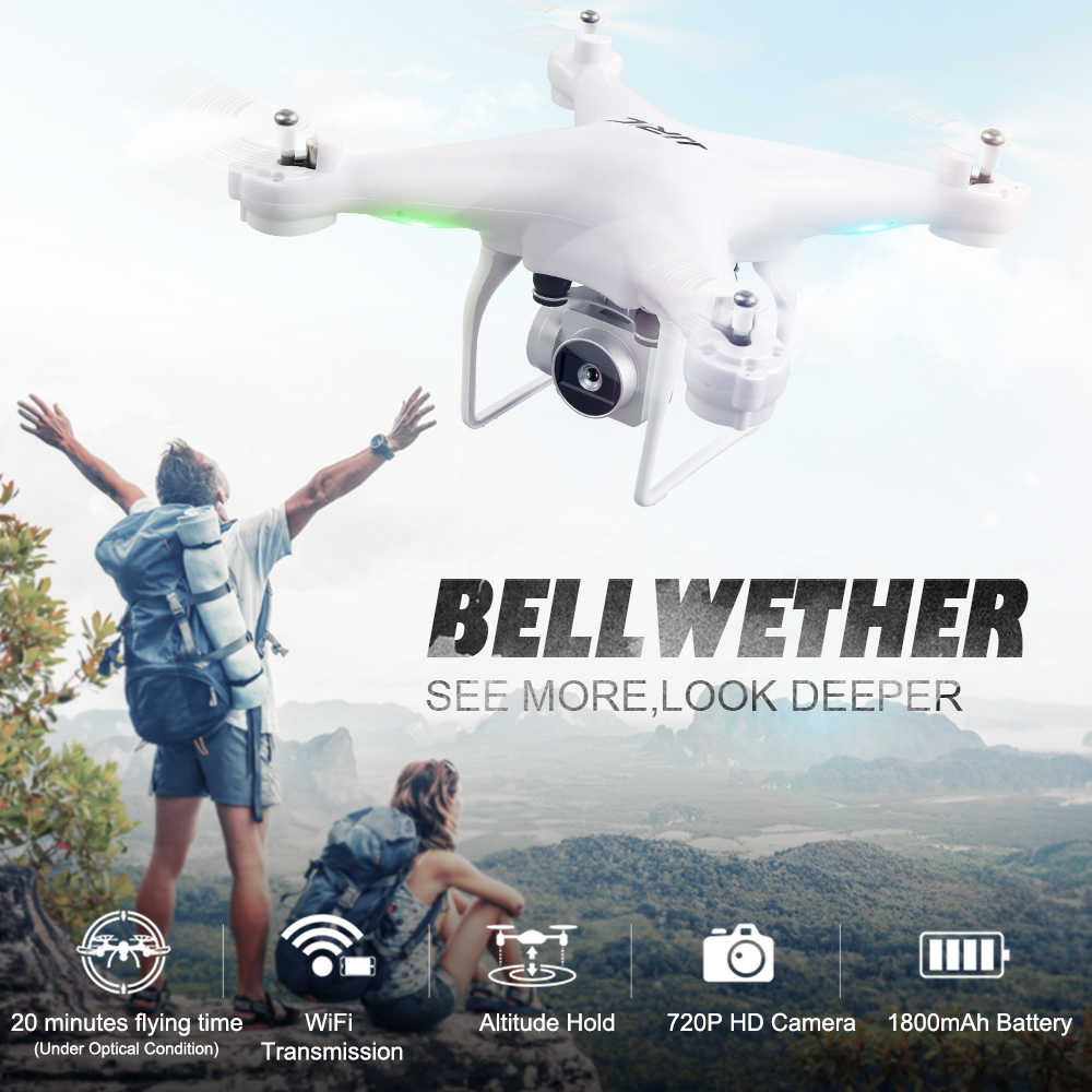 H68 Bellwether Quadcopter dengan Kamera Drone Wifi FPV Ketinggian Tahan Headless Mode RC Drone Waktu Bermain Vs DJI PHANTOM 4 3
