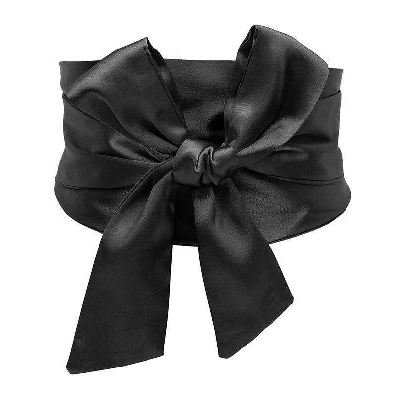 10cm Reflective Polyester Fabric Dress Belt Women Fashion Self-tie Bow Waist Belt Strap Female Slimming Corset Waistband Belts 50% OFF