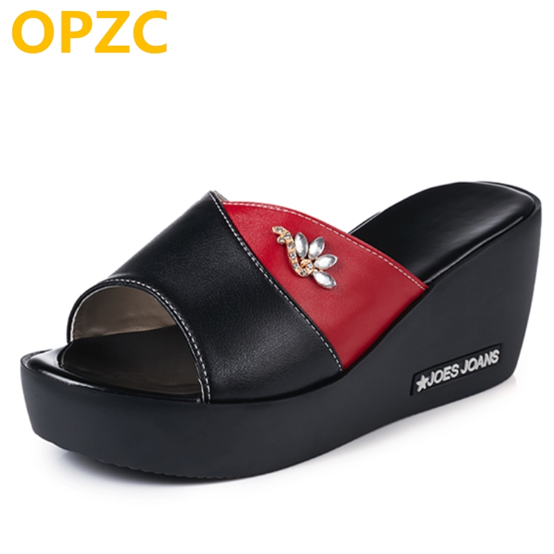 OPZC New summer shoes and slippers for women high platform shoes Outdoor genuine leather flip flop women's shoes with wedge
