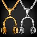 De Acero inoxidable Joyería de Los Hombres y Mujeres Música Auriculares Colgante Al Por Mayor Collar de Cadena de Oro Para Los Hombres 2016 GP2191