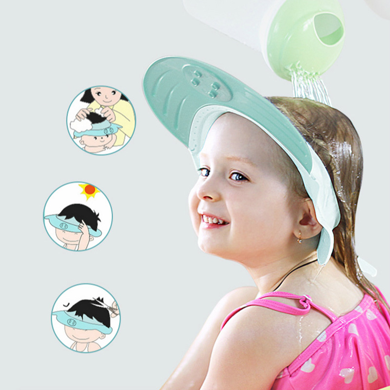 1pcs 25*25cm Resizable Cartoon Pig Silicone Baby Shampoo Cap Hat Bathing Bath Shower Hair Wash Protect Soft Cap For Kids Baby