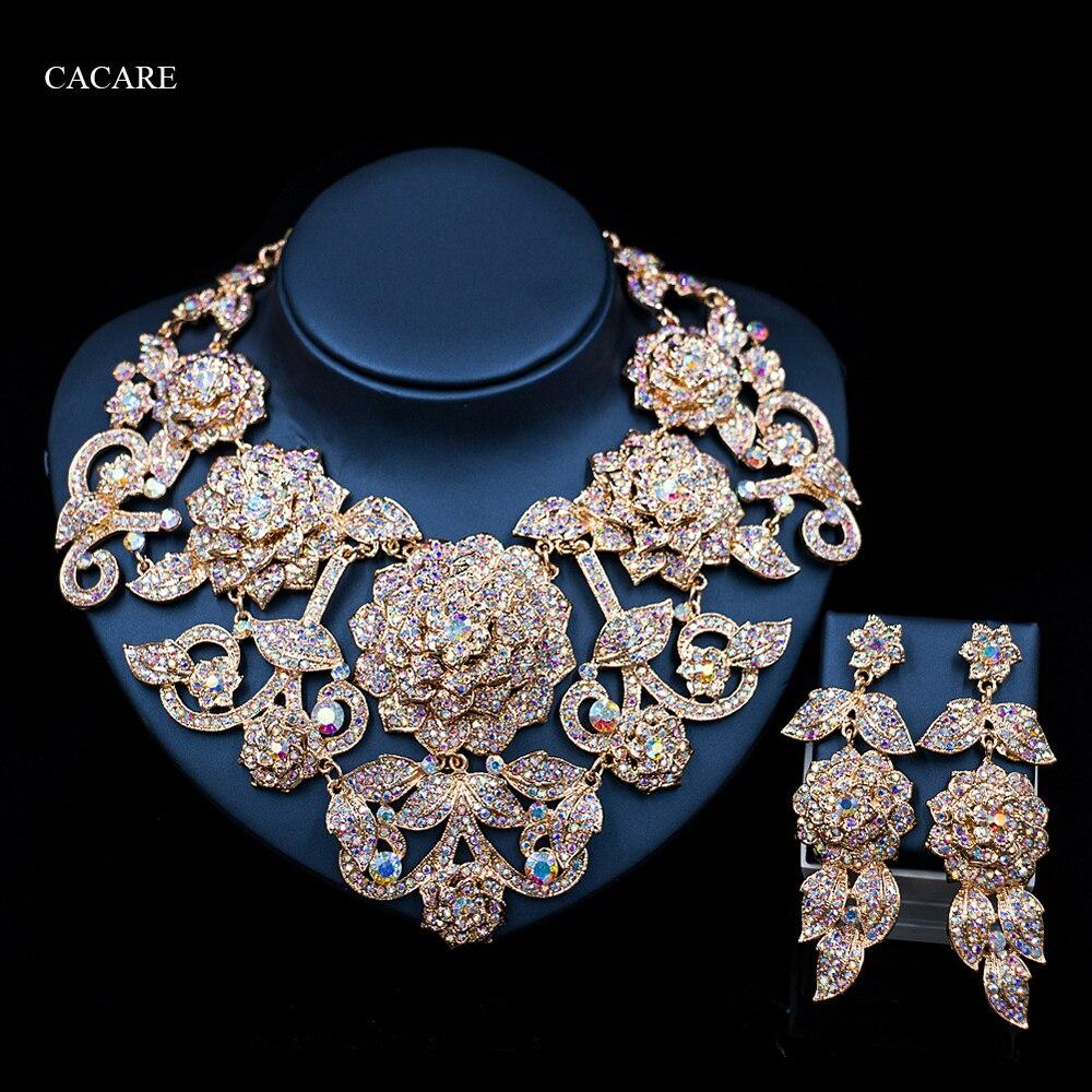 Ensemble de bijoux Vintage de luxe collier boucles d'oreilles Maxi femmes grand pendentif pas cher déclaration Collares F1101 avec strass 10 couleurs