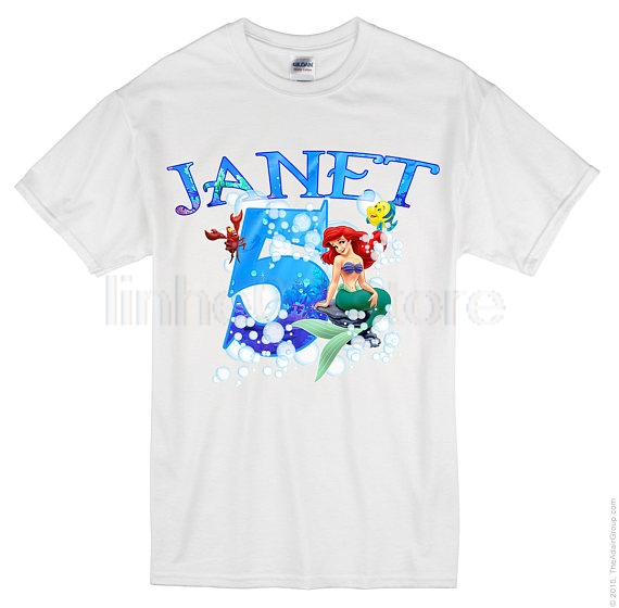 GILDAN Ariel The Little Mermaid Birthday Shirt Custom Personalized