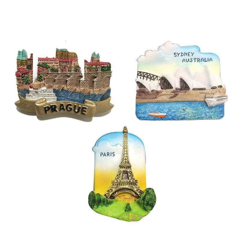 Czech Republic Prague Square Fridge Magnets Souvenir Resin Magnetic Refrigerator Ssticker Sydney Opera House Paris  Fidge Magnet