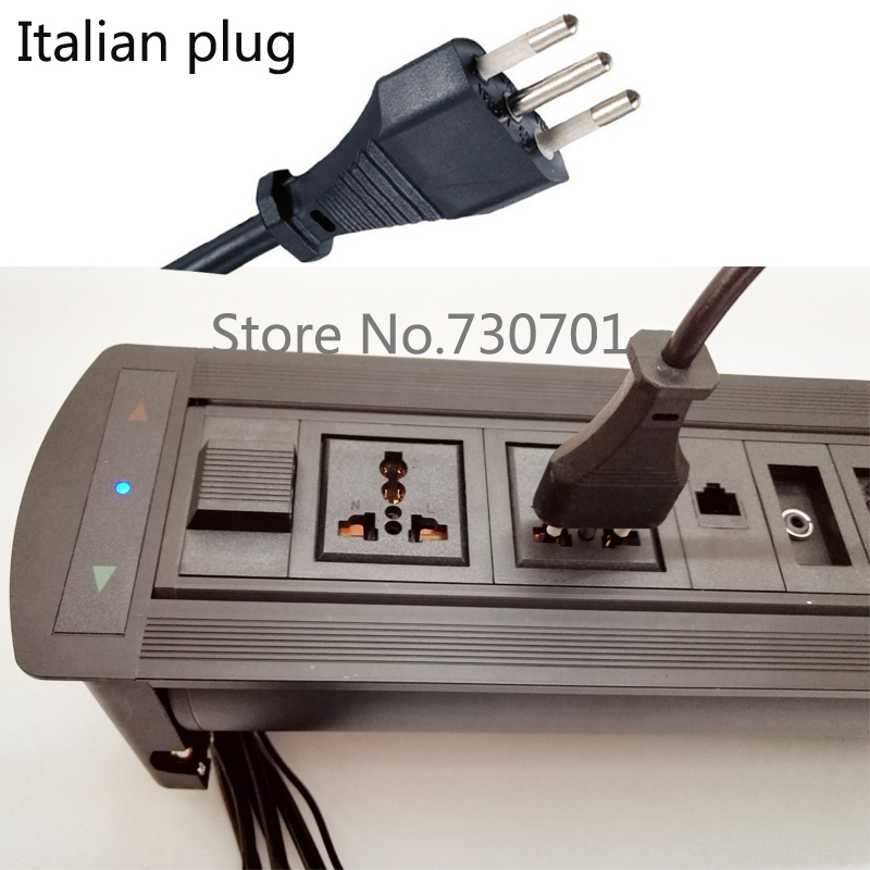 Motorized furniture Socket with Universal Power Italy plug for Italy and Chile standard used for Chile Italy use 5set 3pin female panel powercon stage light power plug and socket audio connector plug socket 20a 250v nac3fca with nac3mpa 1