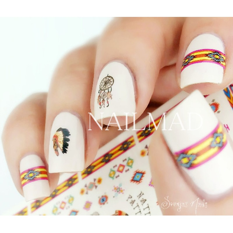 1 sheet Tribal Patterns Nail Water Decals Colorful Aztec Transfer ...