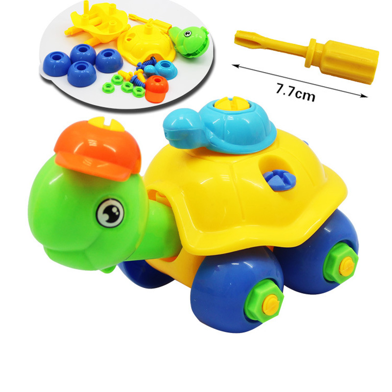 Early Learning Education DIY Screw Nut Group Installed Plastic 3d Puzzle Disassembly Tortoise Kids Toys For Children Toys