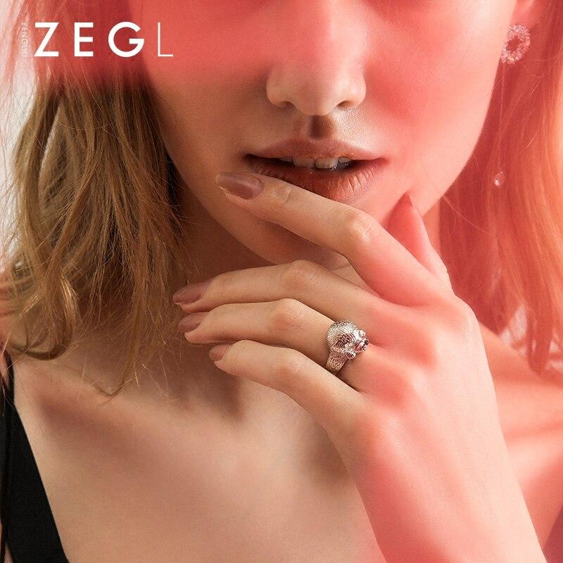 ZEGL Designer 990 en argent sterling anneaux zodiaque chien anneaux pour femmes bagues bijoux