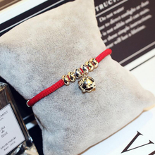 New Red Line Pig Bracelet Female Hand Woven Rope Zodiac Alloy For Woman Style Gold Color Piglet