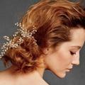 Boêmio do vintage nupcial do casamento de cristal grânulos de vidro trançado de malha flor acessórios para o cabelo Em forma de U pino de cabelo de noiva