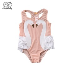2018 Summer Toddler Kid Baby Girl 3D Swan Print Ruffles Novelty Sleeveless Bodysuits HZ 2-7T(China)