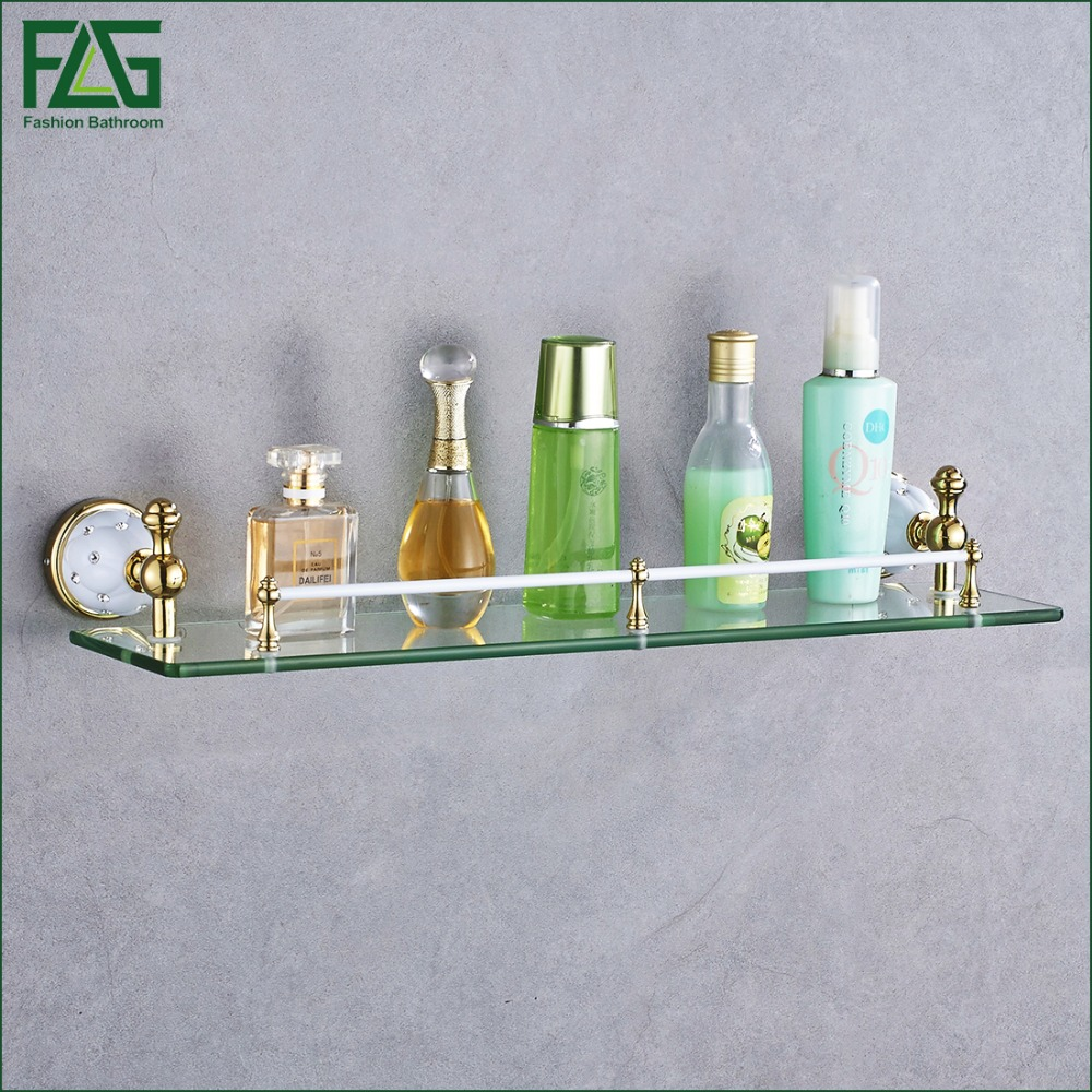 FLG Bathroom Accessories Solid Brass Golden Finish With Tempered Glass,Single Glass Shelf Bathroom Shelf Free Shipping 21211-1W bathroom accessories solid brass golden finish with tempered glass crystal double glass shelf bathroom shelf free shipping 6314
