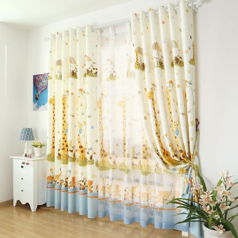 ᐂCortina tul telas para niños dibujos animados cortinas diseño