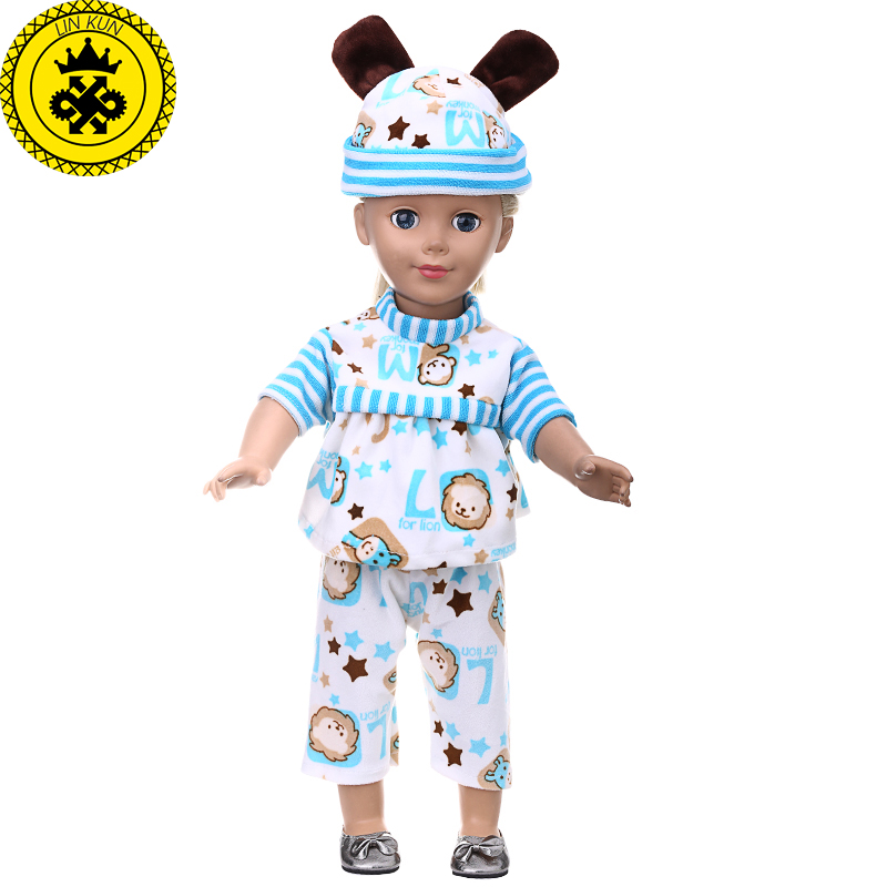 American Girl Doll Clothes Cute Ear Hat+ Coat+ Pants Suit Clothes for 18 inch Dolls Accessories 7 Colors MG-220 handmad 18 inch american girl doll clothes princess anna dress fits 18 american girl doll mg 032