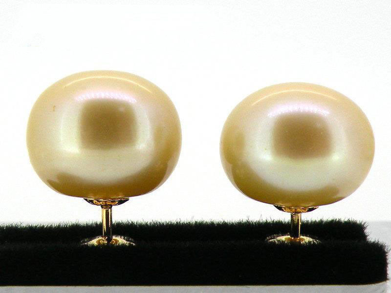 Free shipping Genuinel AAA+++ 10mm berad champagne south sea pearl earring 18k yellow goldFree shipping Genuinel AAA+++ 10mm berad champagne south sea pearl earring 18k yellow gold