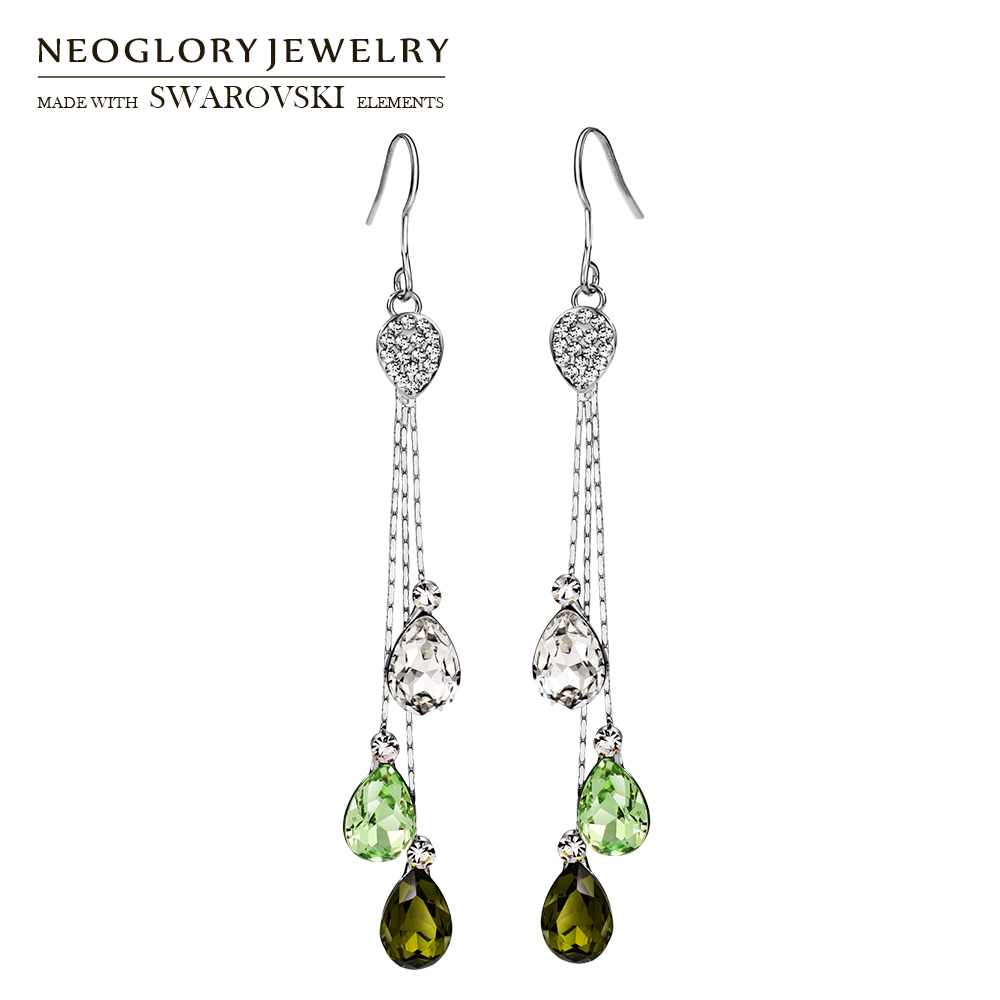 Neoglory Austria Rhinestone & Crystal Chain Dangle Earrings Water Drop Style Alloy Plated Elegant Beads For Trendy Women pair of trendy faux turquoise leaf alloy drop earrings for women