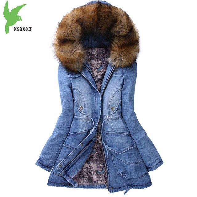 2ac114a918442 2018 Nouveau Hiver Denim Manteau femme veste En Coton Épaissir Chaud Parkas  Grande taille Femmes col