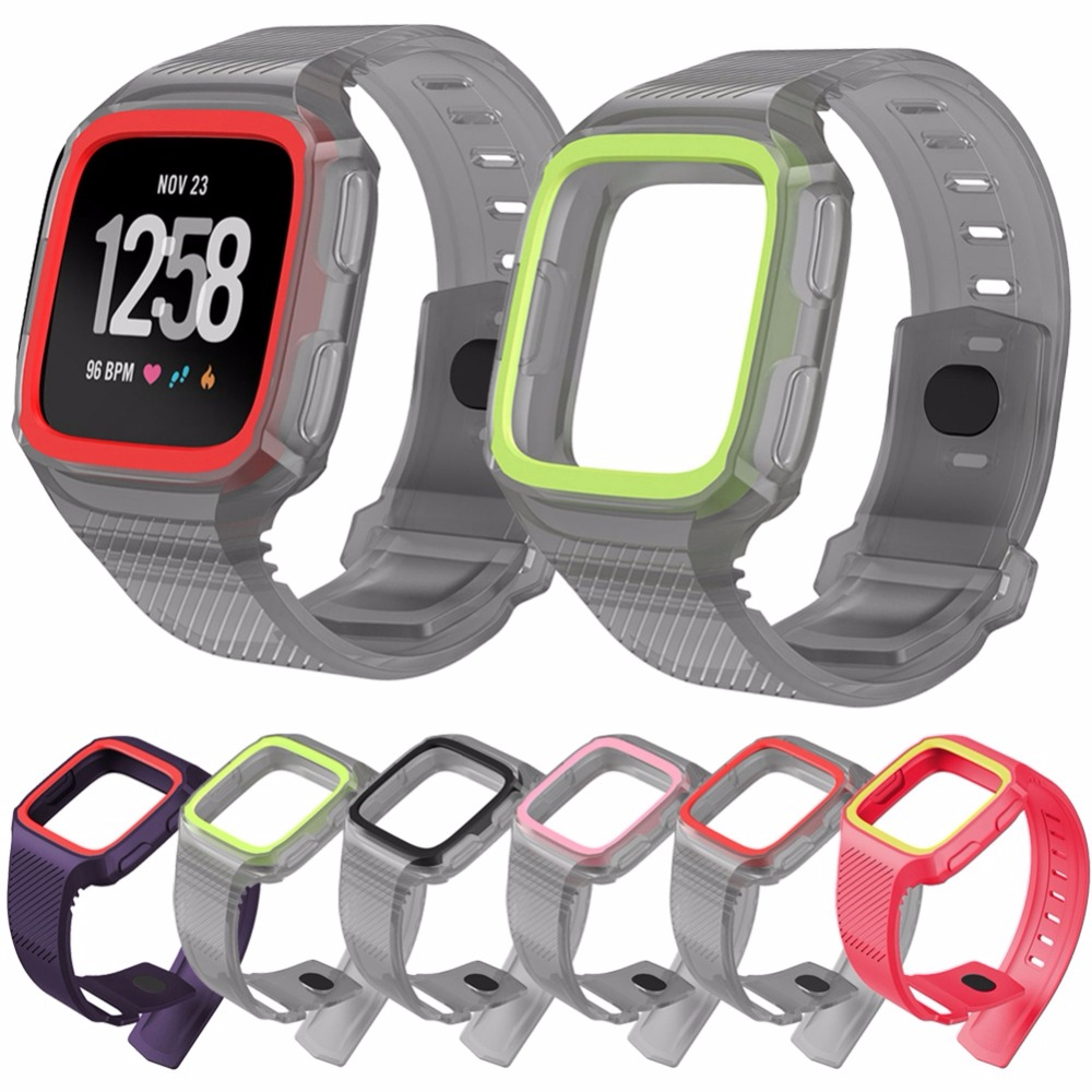 HANGRUI silicone band replacement for Fitbit Versa Band, Rugged Sports Strap with watch frame case cover strap For fitbit versa fitbit watch