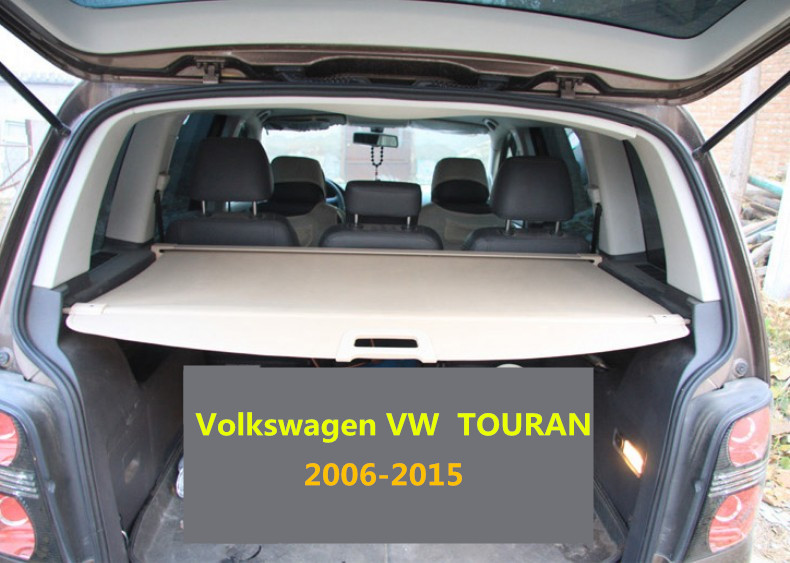 Car Rear Trunk Security Shield Cargo Cover For Volkswagen VW TOURAN 2006-2015 High Qualit Black Beige Grey Auto Accessories for volkswagen vw touran 2016 2017 2018 rear trunk security shield cargo cover high qualit auto accessories black beige grey