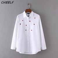 Spring New European Little Love Embroidered Women Tops Casual Turn Down Collar White Shirt Blouse A8461