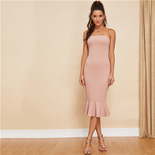 19862e087f COLROVIE Pink Solid Ruffle Hem Bodycon Tube Party Dress Women 2018 Off the  Shoulder Elegant Dress