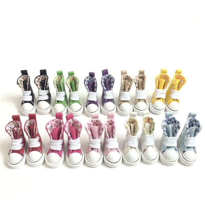 Mini Jouet Bottes décontracté Snickers Chaussures pour Poupées BJD, 1/8 BJD Chaussures De Poupée Chaussures de Toile 3.5 CM, Accessoires De Poupée De Mode 12 paire/lot-in Poupées from Jeux et loisirs    1