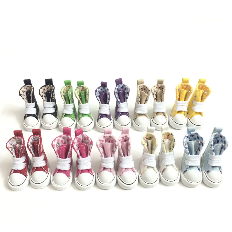 Mini Toy Boots Casual Snickers Shoes for BJD Dolls,1/8 BJD Doll Shoes Canvas Shoes 3.5 CM, Fashion Doll Accessories 12 Pair/Lot handmade chinese ancient doll tang beauty princess pingyang 1 6 bjd dolls 12 jointed doll toy for girl christmas gift brinquedo