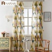 Modern Curtains Semi Sheer Fabrics Burnout Kitchen Door Curtains Balcony Short  Curtains Living Room Geometric Design Colorful