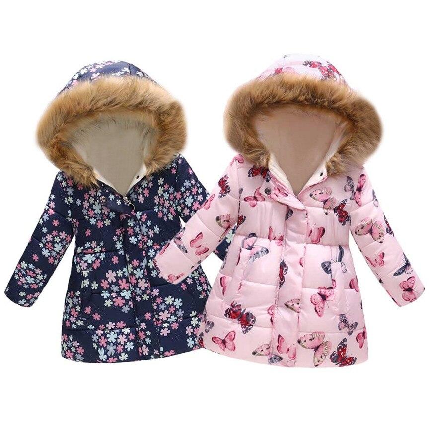 ThePass Toddler Baby Girl Floral Print Winter Warm Jacket Hooded Windproof Coat