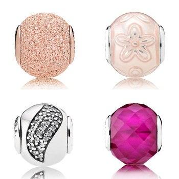 f6e0a4ae8945 Oro rosa felicidad con cuentas de Zirconia cúbica Fit Pandora Essence  colección pulsera brazalete 925 joyería de plata de ley