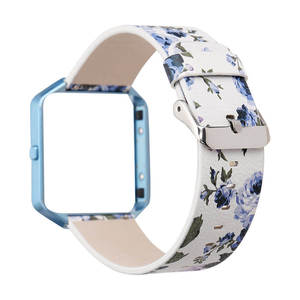 Image 4 - DAHASE Floral Leather Watchband 23mm Flower Strap Replacement Watch Strap For Fitbit Blaze Band w Colorful Metal Frame