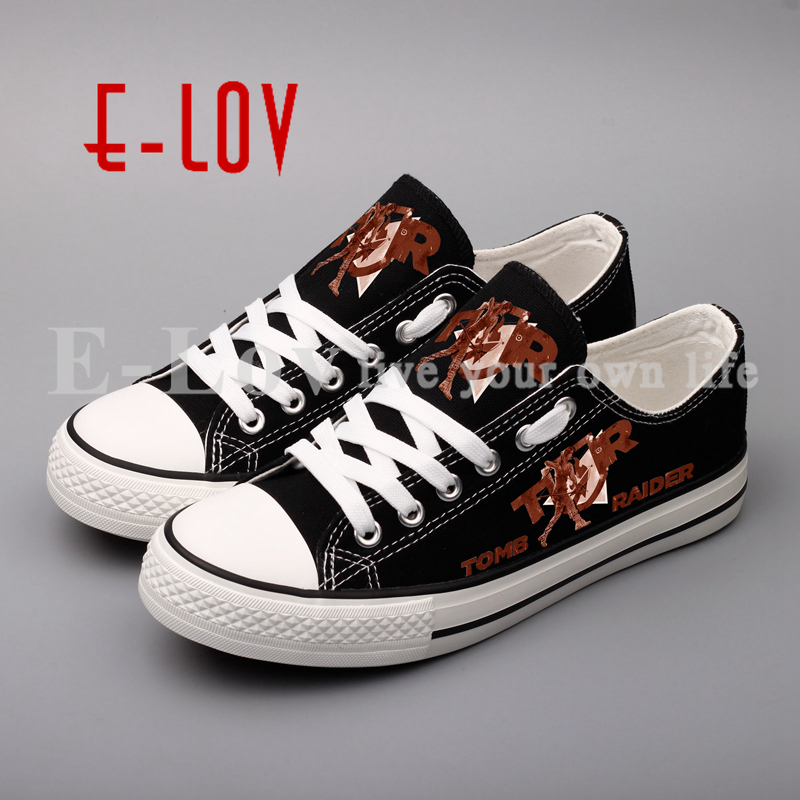 E-LOV Custom Print Black Canvas Shoes Hot Game 3D Printed Casual Shoe For Women Girls Sapato e lov women casual walking shoes graffiti aries horoscope canvas shoe low top flat oxford shoes for couples lovers