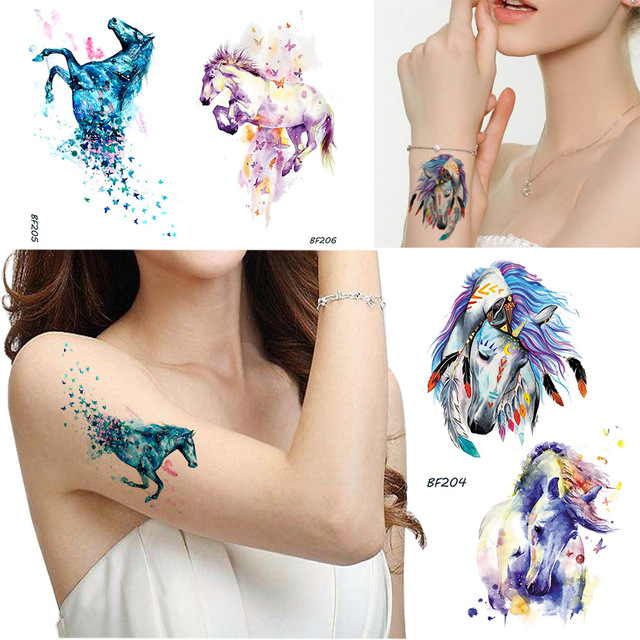 e9afb1c05e925 Blue Watercolor Horse Temporary Tattoo Women Butterfly Feather Waterproof  Fake Tatoos Body Art Unicorn Arms DIY Tattoo Stickers