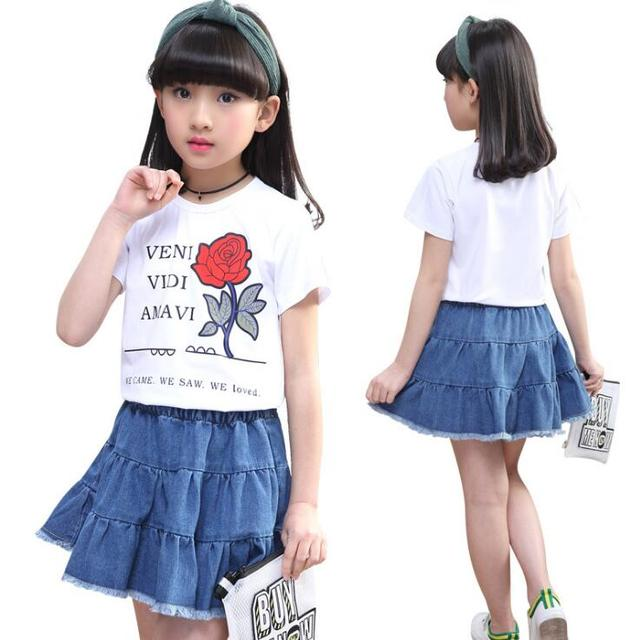 2 Pcs Suit Summer Teen Girls Clothes Children Clothing Set Cotton T-shirt Jeans Skirts outfits For Girls Costume 6 8 10 12 14 Y