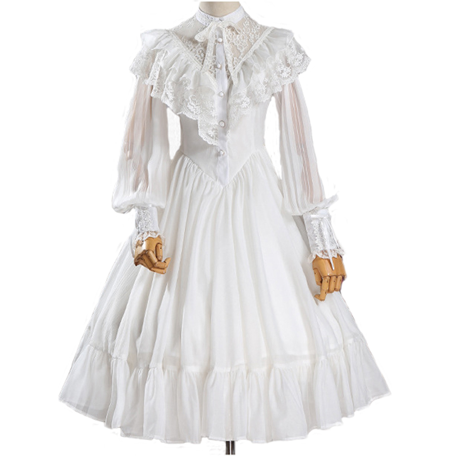 NEW Western Women Spring Summer Lolita Chiffon Dress Daily Vintage Medieval Gothic Dress Female Lace Party