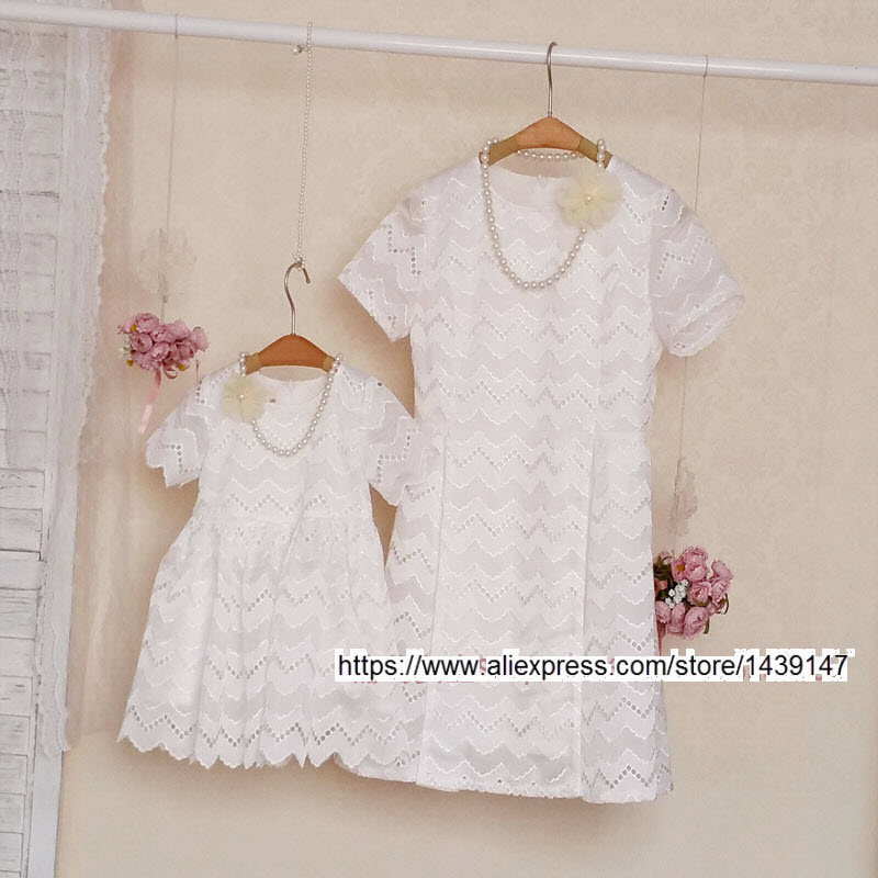 Summer children clothing Family fitted clothes Women large size 4XL Mother and Daughter Hollow White Openwork embroidery dresses pinkwin white 4xl
